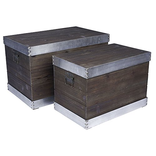 Household Essentials 2 Piece Wooden Storage Trunk with Silver Trim, Large/Small by Household Essentials
