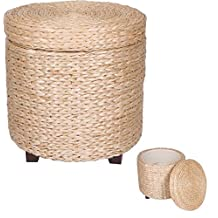 """17"""" Round Storage Ottoman Footstool - Wood and Woven Rush Grass by Trademark Innovations"""