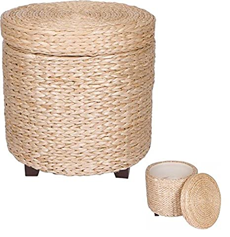 Superior 17u0026quot; Round Storage Ottoman Footstool   Wood And Woven Rush Grass By  Trademark Innovations