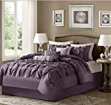 7 Piece Solid Color Tufted Design Comforter Set Full Size, Featuring Elegant Reversible Bordered Zigzag Line Comfortable Bedding, Contemporary Stylish Chic Girls Adult Bedroom Decoration, Purple