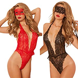 LEADO Lace Sexy See Through Deep V One Piece Halter Lingerie Babydoll