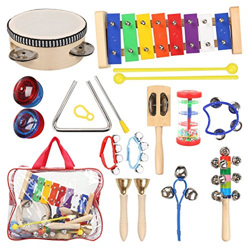 Tambourine Carrying Case - Kids Musical Instruments with Xylophone Tambourine for Kids, Toddler Wooden Percussion Toy Set for Kids Preschool Educational Early Learning with Free Carrying Bag by STYDDI