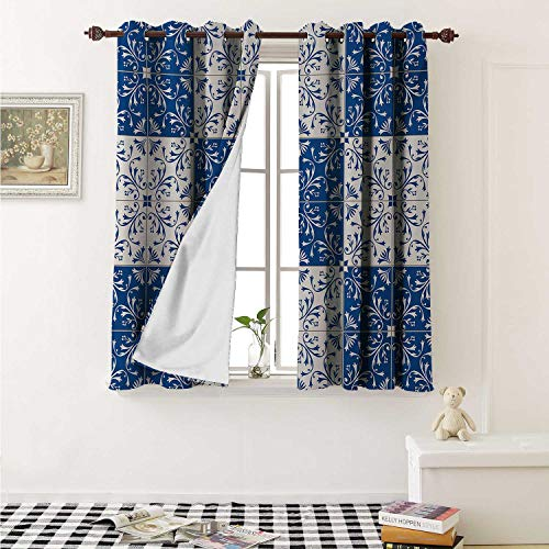 shenglv Moroccan Blackout Draperies for Bedroom Turkish Portuguese Style Mosaic Ceramic Patterns Country Style Vintage Image Curtains Kitchen Valance W72 x L63 Inch Navy Blue White