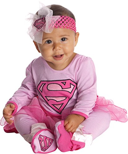DC Comics Supergirl Onesie And Headpiece, Pink, 0-6 Months - Superhero 4 Piece Costumes