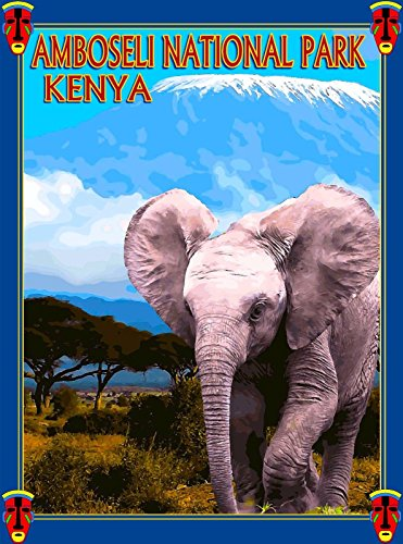 - MAGNET Amboseli National Park Kenya Africa Elephant Travel Art Magnet Advertisement