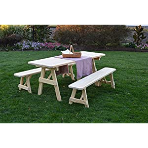 Pressure Treated Pine 6 Foot Picnic Table with Detached Benches- Redwood Stain