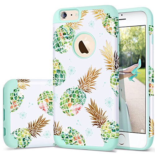 Fingic iPhone 6 Plus Case/iPhone 6s Plus Case Pineapple Design Slim Dual Layer Hybrid Hard PC Soft Rubber Anti-Scratch Shockproof Protective Case Cover for iPhone 6 Plus/6s Plus (5.5), Mint Green