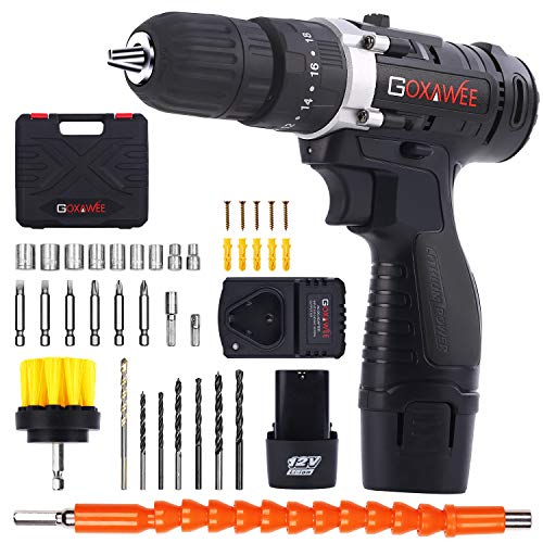 Cordless Drill with 2 Batteries - GOXAWEE 100pcs Accessories 12V Electric Power Drill Set with Hammer Function, 3/8