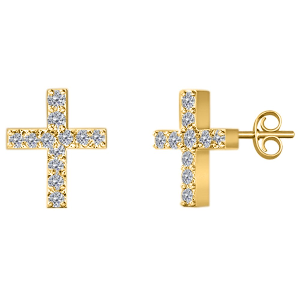 1/10 Ct Round Cut Natural Diamond 14K Gold Cross Stud Earrings With Push Back (yellow-gold)