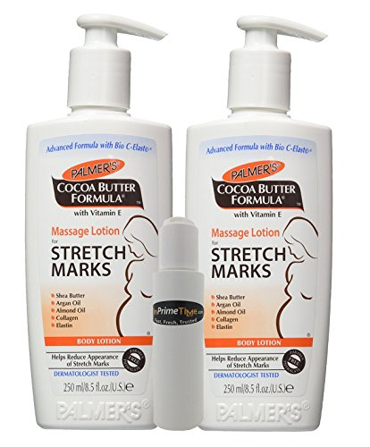 Palmer's Cocoa Butter Formula Massage Lotion For Stretch Marks with Vitamin E and Shea Butter Women Body Lotion, 8.5 Ounce (Pack of 2) w/ InPrimeTime Travel Dispenser Bottle (InPrimeTime Exclusive)
