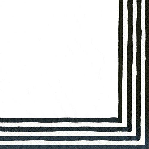 Entertaining with Caspari Stripe Border Paper Cocktail Napkins (20 Pack), Black/White