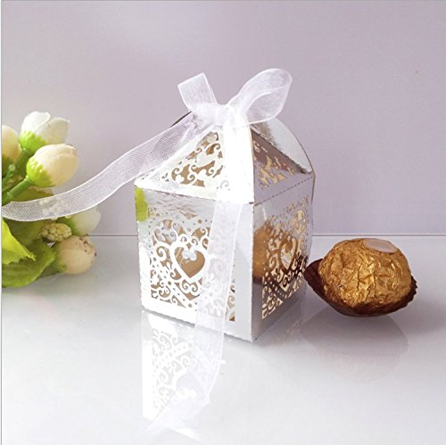 HG-X 50 Pack Laser Cut Love Pattern Wedding Favor Box Birthday Shower Party Candy Boxes Bomboniere ()