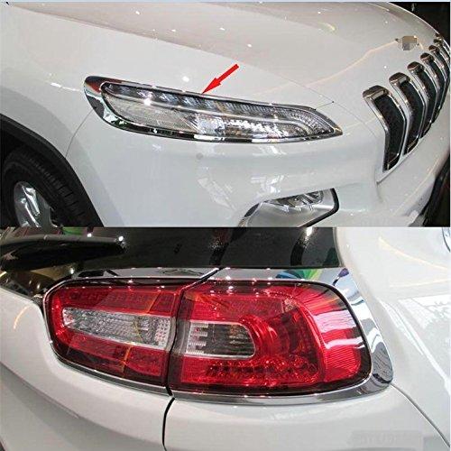 GOOACC Chrome Headlight + Tail Light Front Rear Lamp cover trims Fits Jeep Cherokee 2014-2016 - Jeep Cherokee Chrome Headlight Trim