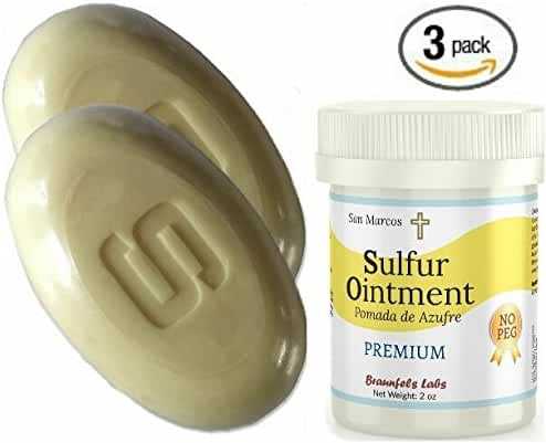 3 PACK- 10% Sulfur Ointment + (2) 10% Sulfur Soap, Go All Natural ! ZERO PEG