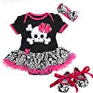 Baby Black Damask Skull Pirate Bodysuit Tutu Small Pink