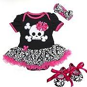 Baby Black Damask Skull Pirate Bodysuit Tutu Medium Pink