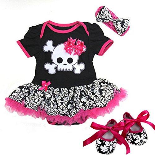 (Ameda Baby Black Damask Skull Pirate Bodysuit Tutu Small Pink)
