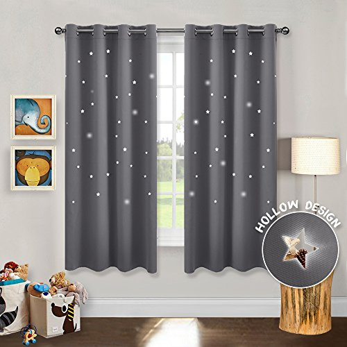 PONY DANCE Blackout Star Curtains - Romantic Starry Sky Hollow Out Star Creation Thermal Insulated Ring Top Curtains/Drapes/Window Treatments for Girl's Room, W 52 x L 63 in, Grey, 1 Pair