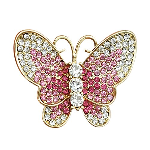 YOQUCOL Bright Butterfly Pink CZ Austrian Crystal Brooch Pin Gold Tone For Ladies