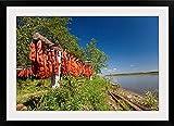 greatBIGcanvas Red Salmon hang on drying rack along Kuskokwim River shoreline Photographic Print with Black Frame, 36  x 24