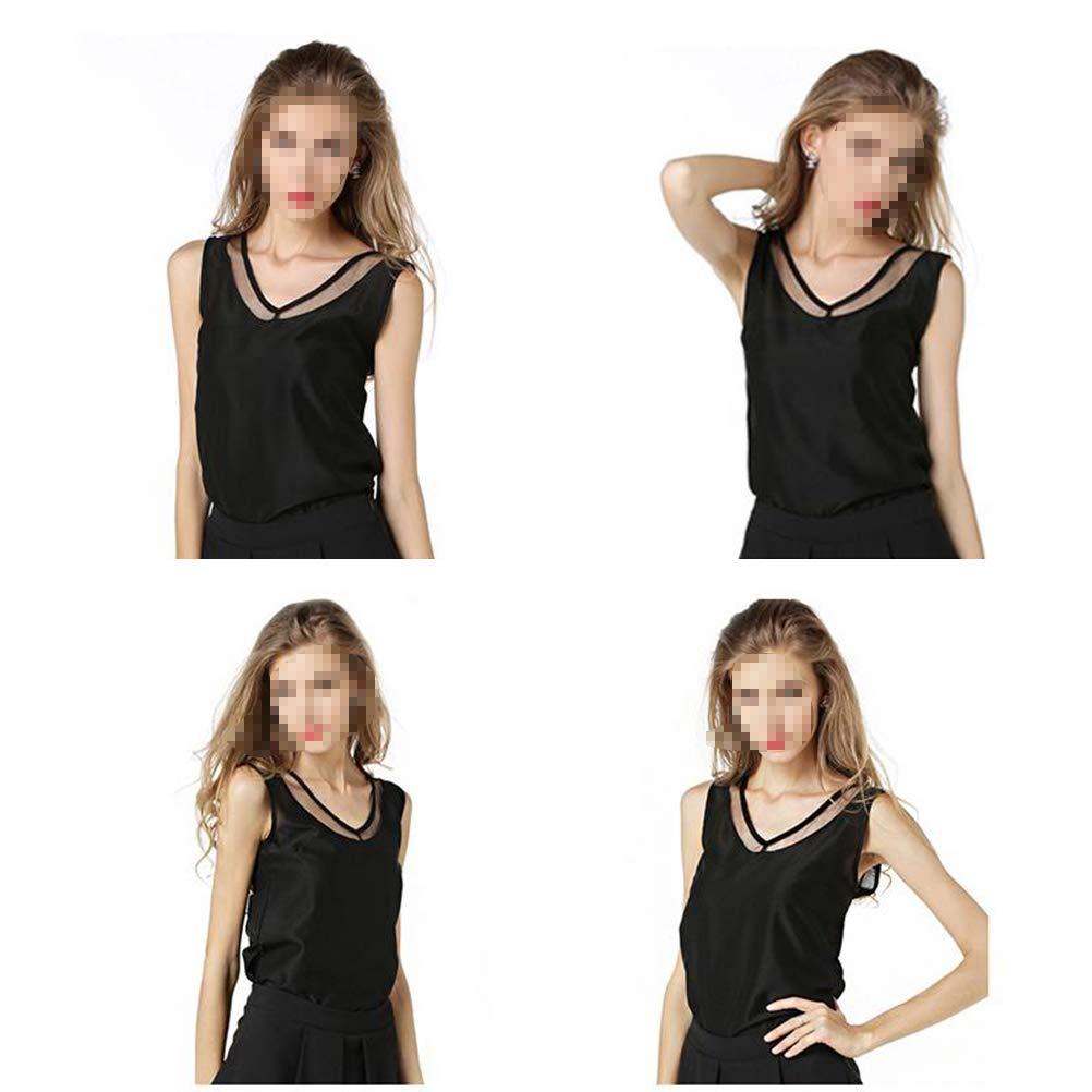 Black BESTOYARD Women Summer Vest Soild Loose Sleeveless Backless V-Neck Chiffon T-Shirt Plus Size Vest Size M