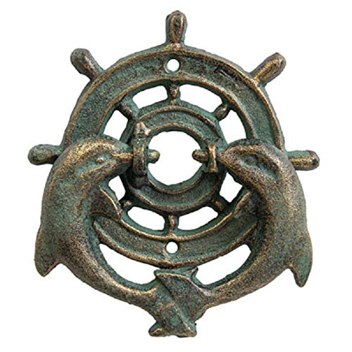 Cast Iron Double Dolphin and Ships Wheel Door Knocker Green with Gold ()