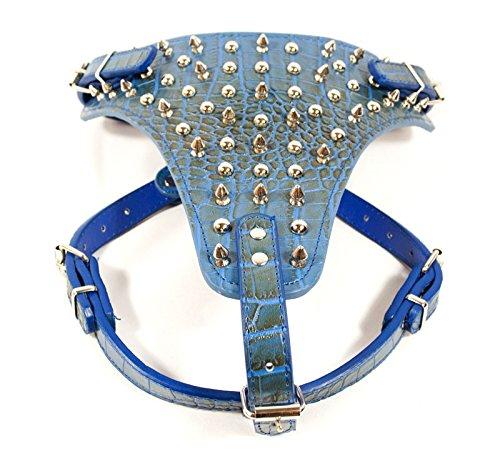 leather spike dog harness - 3