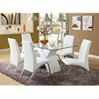 7 Pc. Wailoa Contemporary Style Glass Table Top and White Finish X-shaped Base Dining Set