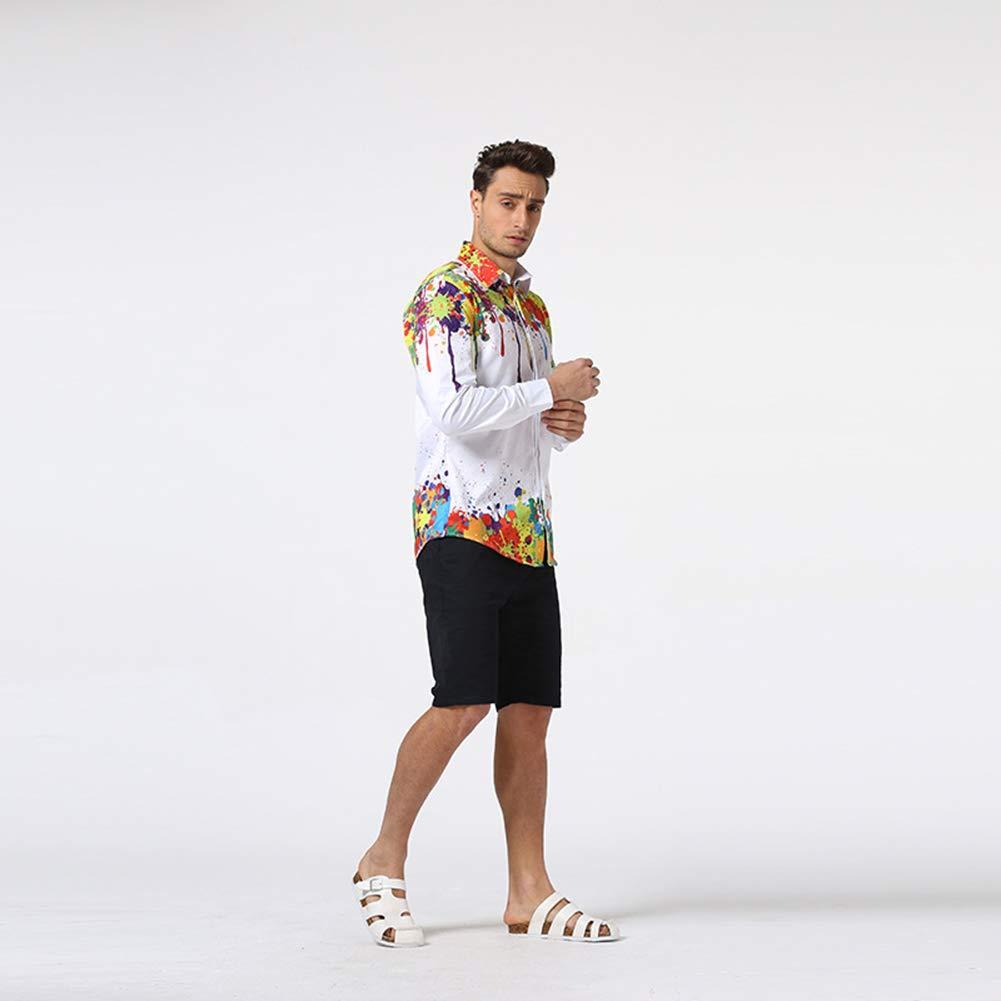 Yffksse Mens Hipster Shirt,Psychedelic Splash-Ink Printed,Casual Slim Fit,Long Sleeve,XXXL
