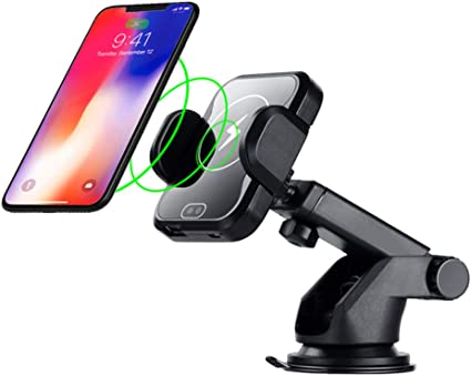 One-Hand Operation Car Mount Compatible with Samsung Galaxy S9//S8//S7//S7 Edge//S7 Edge Note and More Touch Sensitive Car Mount Wireless Charger Qi Fast Wireless Car Charger