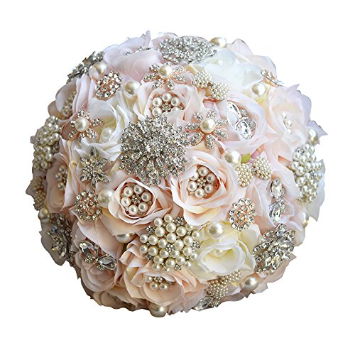 Snowskite Hand Made Silk Rose Rhinestone Brooch Lace Wedding Bouquets Pearls Bride Holding Flowers (Champagne)