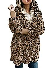 Zilcremo Women Fuzzy Cardigan Winter Hooded Jacket Open Front Fleece Coat Outwear with Pockets