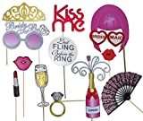 Bachelorette Party Favors, Photo Booth Props 22-Piece Kit - Bridal Wedding Shower Supplies - Glasses, Masks, Tiaras, Mustaches On Sticks - Pre-Assembled - Girls Night Out Accessories
