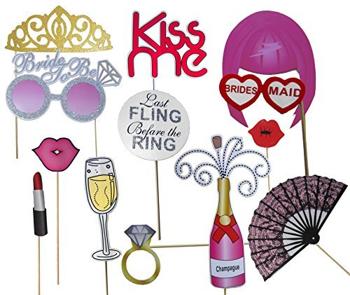Bachelorette Party Favors, Photo Booth Props 22-Piece Kit - Bridal Wedding Shower Supplies - Glasses, Masks, Tiaras, Mustaches On Sticks - Pre-Assembled - Girls Night Out - Looking Best Mustaches