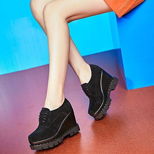Giy Damesmode Platform Lage Top Veters Sneakers Dikke Bodem Verhoogde Hoogte Casual Wedges Schoenen Zwart