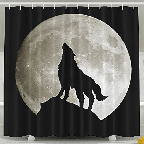 Wolf Howling At The Moon Bath Curtain 60 X 72-Inch Waterproof Eco Friendly Anti Bacterial Decoration