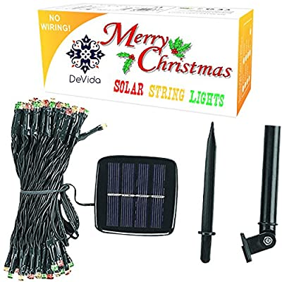 DeVida Christmas Solar String Lights in Red Green White, 100 Waterproof Mini LED Set, 13ft Lead Wire for Holiday Fiesta Party Supplies, Tree wrap, Patio, Garden, Home Decor, Wall, Ceiling