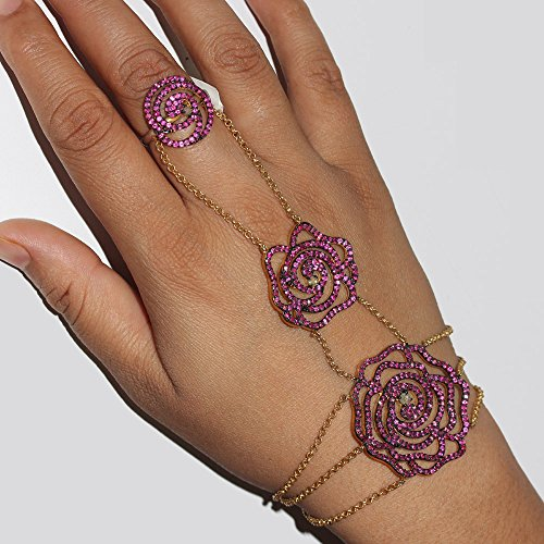 (925 Sterling Silver Ruby Gemstone Flower Design Slave Bracelet Handmade Diamond Pave Jewelry)