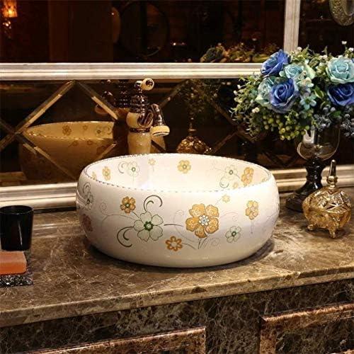RANRANJJ 内閣洗面所虚栄心のための浴室容器シンクラウンド上記カウンターサークルセラミックカウンターシンク