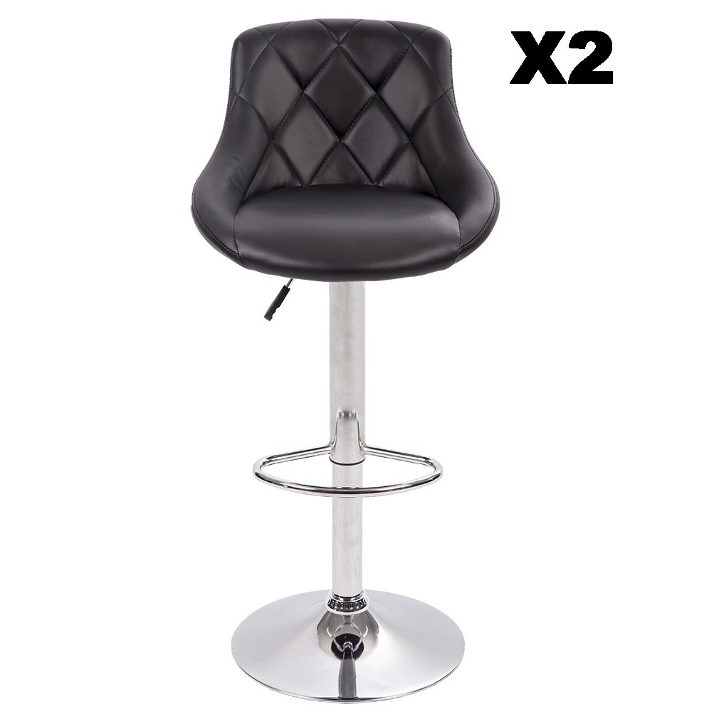 BestMassage PU Leather Bar Stools Modern Swivel Dinning Kitchen Chair, Set Of 2