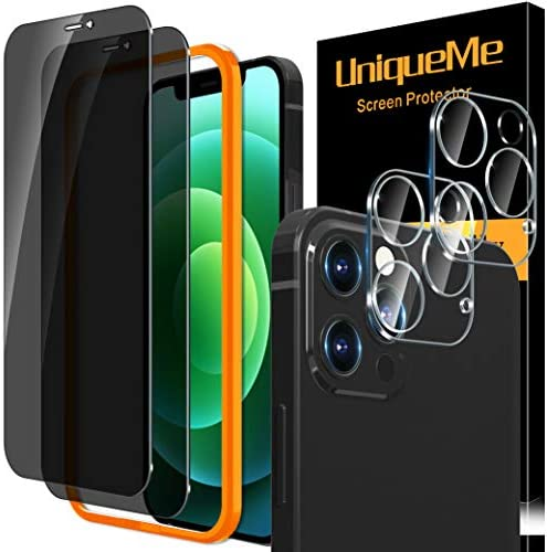 "[2+2 Pack] UniqueMe Compatible with iPhone 12 Pro Max 6.7"" Privacy Screen Protector and Tempered Glass Camera lens Protector Tempered Glass, Anti Spy [Easy Installation Frame] [Precise Cutout]Bubble Free"