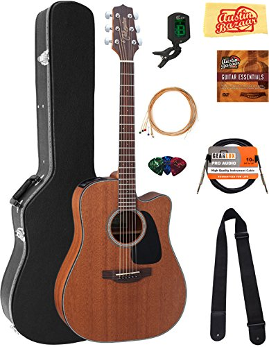 Takamine GD11MCENS Mahogany Dreadnought Cutaway Acoustic-Electric Guitar – Natural Satin Bundle with Hard Case, Cable, Tuner, Strap, Strings, Picks, Instructional DVD and Polishing Cloth