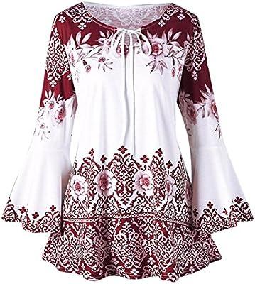Camisas Mujer Tallas Grande,Moda Blusas de Manga Larga Estampadas para Mujer Blusas Camisetas de bocallave Blusas Elegantes señoras niña Primavera Otoño: Amazon.es: Deportes y aire libre