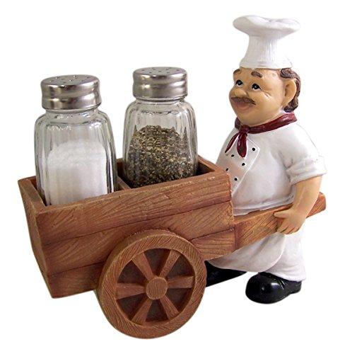Spicy French Chef Cart Salt and Pepper Shaker Holder