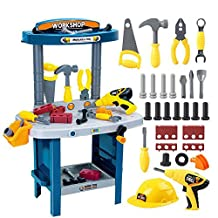 Fun Construction Tool Box, Boys Junior Power Tool Workshop, Children's Educational Pretend Role Play Set