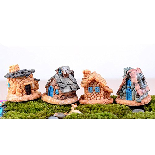YIWULA Miniature Stone House Statue Home Decor Fairy Ornament Garden