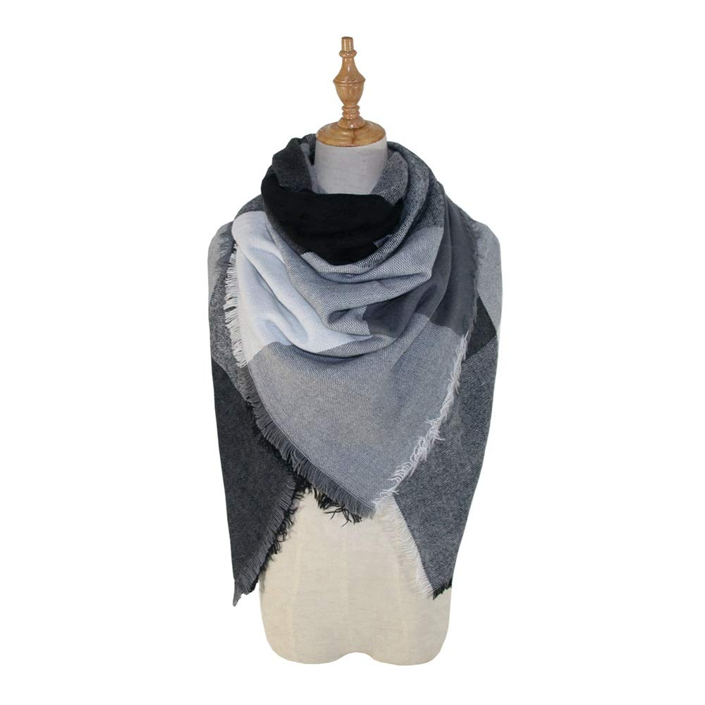 Excellent Women's Fall Winter Scarf Classic Tassel Tartan Plaid Scarf Ardent Easygoing Kerchief Wrap Shawl Scarves (Color : Black, Size : 53.15 Inch Dia')
