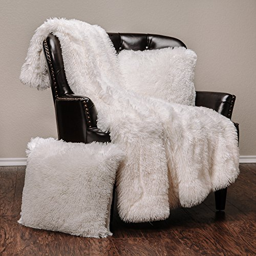 Fur Cover - Chanasya Super Soft Shaggy Chic Fuzzy Faux Fur Warm Elegant Cozy With Fluffy Sherpa White Microfiber Throw Blanket (50