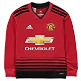 adidas Kids Manchester United FC Home Long Sleeve Jersey, Real Red/Black, Size 152