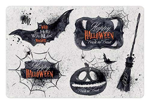 Ambesonne Vintage Halloween Pet Mat for Food and Water, Halloween Symbols Happy Holiday Witch Lives Here Broomstick Spider Web, Rectangle Non-Slip Rubber Mat for Dogs and Cats, Black White